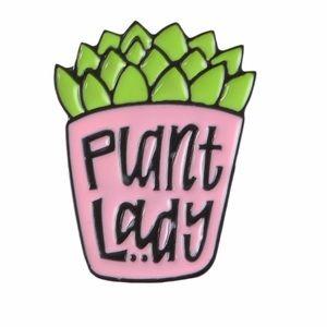 Jewelry - 🛑SALE🛑Plant Lady Enamel Pin Pink Pot Green Thumb